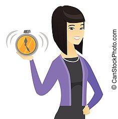affari donna, allarme, clock., asiatico, presa a terra