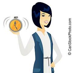 affari donna, allarme, giovane, clock., asiatico, presa a terra