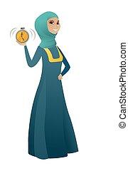 affari donna, allarme, musulmano, clock., presa a terra