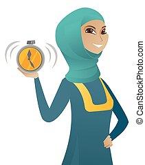 affari donna, allarme, musulmano, giovane, clock., presa a terra