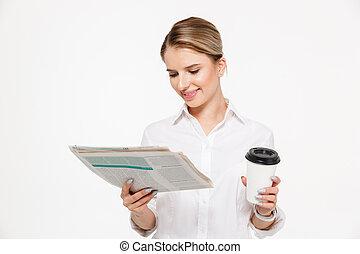 affari donna, allegro, giornale, biondo, lettura