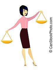 affari donna, asiatico, presa a terra, scale., equilibrio