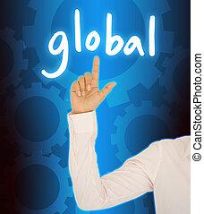 affari donna, bottone, globale, mano, contatto