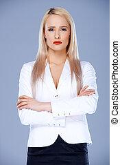 affari donna, braccia, sofisticato, attraversato, proposta