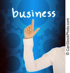 affari donna, bussinet, bottone, mano, contatto