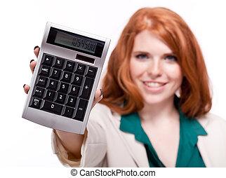 affari donna, calcolatore, isolato, attraente, rosso, sorridente
