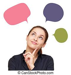 affari donna, colorito, pensare, sopra, messaggio, palloni