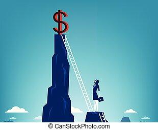 affari, donna d'affari, rampicante, segno., concetto, dollaro, vector.