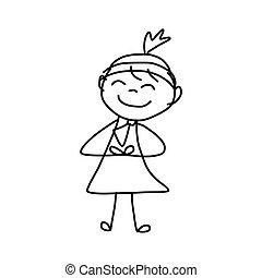 affari donna, disegno, concetto, mano, cartone animato, ...