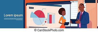 affari donna, donna d'affari, presentazione, sopra, africano, tabelle, americano, stare in piedi, grafico, asse, presa a terra, riunione, relazione, uomo affari, orizzontale, bandiera, o, seminario, uomo