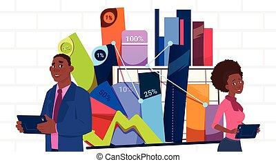 affari donna, donna d'affari, sopra, africano, tabelle, presentazione, americano, stare in piedi, presa a terra, grafico, relazione, uomo affari, riunione, o, seminario, uomo