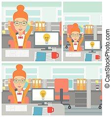 affari donna, eccitato, idea., creativo, detenere