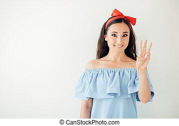 affari donna, esposizione, esecutivo, tre, dita, 3, mano, o, gesto