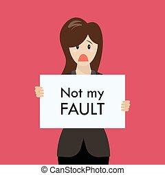 affari donna, faglia, esposizione, segno, fallito, non, mio