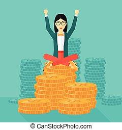 affari donna, felice, seduta, monete.