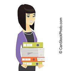 affari donna, folders., mucchio, asiatico, presa a terra