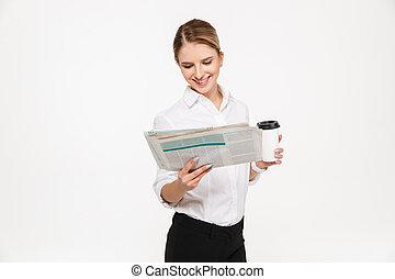 affari donna, giornale, sorridente, lettura, biondo