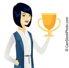 affari donna, giovane, asiatico, presa a terra, trophy.