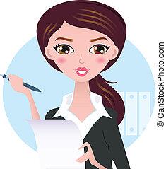 affari donna, giovane, isolato, penna, bianco