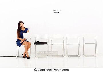 affari donna, giovane, lavoro, preparare, intervista
