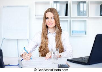 affari donna, giovane, un po', ritratto, ufficio, lavoro ufficio, bello