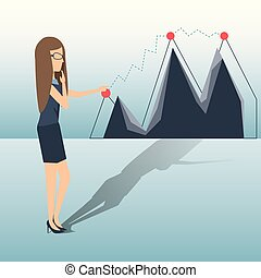 affari donna, grafico, crescente, linea, mostra