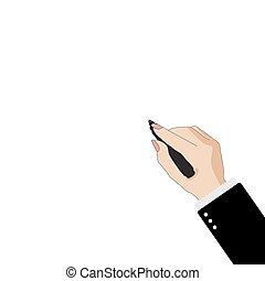 affari donna, mano, s, fondo, pennarello, bianco