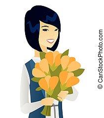 affari donna, mazzolino, flowers., asiatico, presa a terra