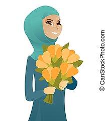 affari donna, mazzolino, musulmano, flowers., presa a terra