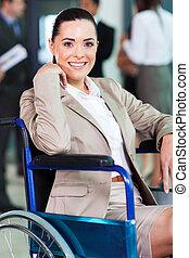 affari donna, moderno, giovane, handicappato, mondo