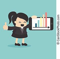 affari donna, mostra, grafico, esposizione, smartphone