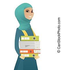 affari donna, musulmano, folders., mucchio, presa a terra