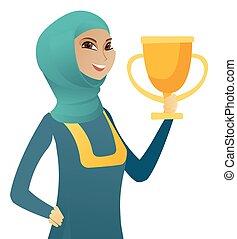 affari donna, musulmano, giovane, presa a terra, trophy.