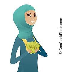 affari donna, musulmano, soldi., giovane, presa a terra