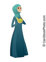 affari donna, musulmano, soldi., presa a terra, felice