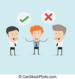 affari donna, no, fare, giovane, scelta, fra, decisione, sì, tentando, o