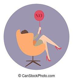 affari donna, no, mostra, segno, dire