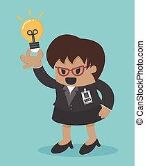 affari donna, ottenere, idea grande, capo