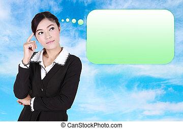 affari donna, pensare, molti, idee, bolla, vuoto