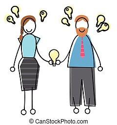 affari donna, persone, luce, idea, concetto, bulbo, uomo