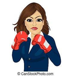 affari donna, pugilato, lotta, guanti, pronto