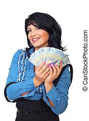 affari donna, rumeno, soldi, presa, felice