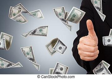 affari donna, segno dollaro, banconote, conferma