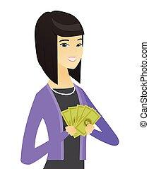 affari donna, soldi., asiatico, presa a terra, felice