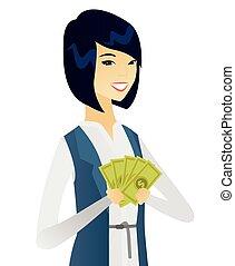 affari donna, soldi., giovane, asiatico, presa a terra