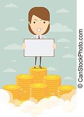 affari donna, soldi, salita, mucchio, felice
