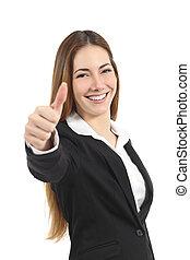 affari donna, su, felice, pollice, gesturing, bello