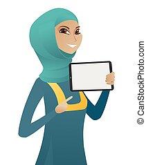 affari donna, tavoletta, musulmano, computer., presa a terra