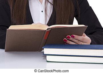 affari donna, ufficio, lettura