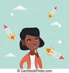 affari donna, volare, dall'aspetto, africano, rockets.